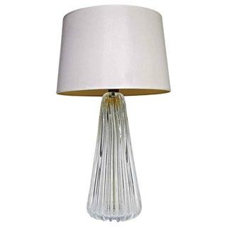 1960s Italian Ribbed Murano Glass Table Lamp