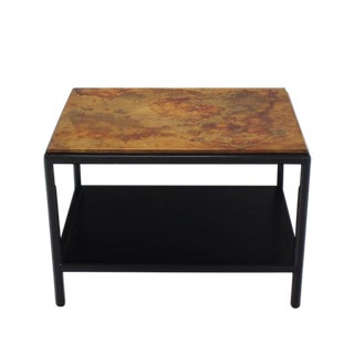 John Stuart Abonized Walnut Base Copper Top Rectangular Side End Table Stand For Sale