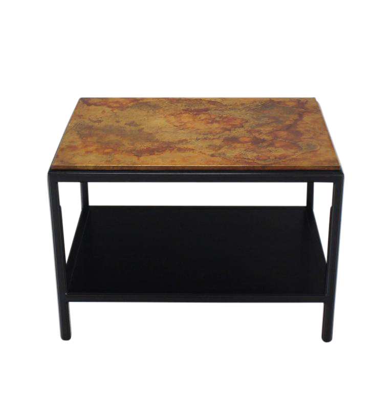 John Stuart Abonized Walnut Base Copper Top Rectangular Side End Table  Stand   Image 1 Of