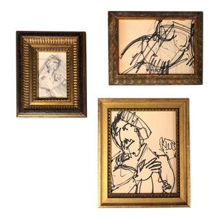 Original Set of 3 Original Ink & Charcoal Drawings Gallery Wall Vintage