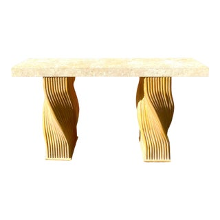 Boho Chic Twisted Pretzel Rattan and Stone Console Table For Sale