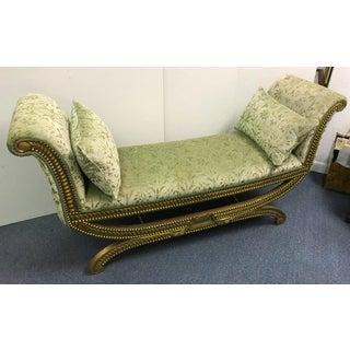 Vintage Mid Century Hollywood Regency Sage Velvet Boudoir Bench Preview