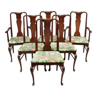 1960s Vintage Thomasville Queen Anne Style Solid Cherry Wood Dining Chairs- Set of 6 For Sale
