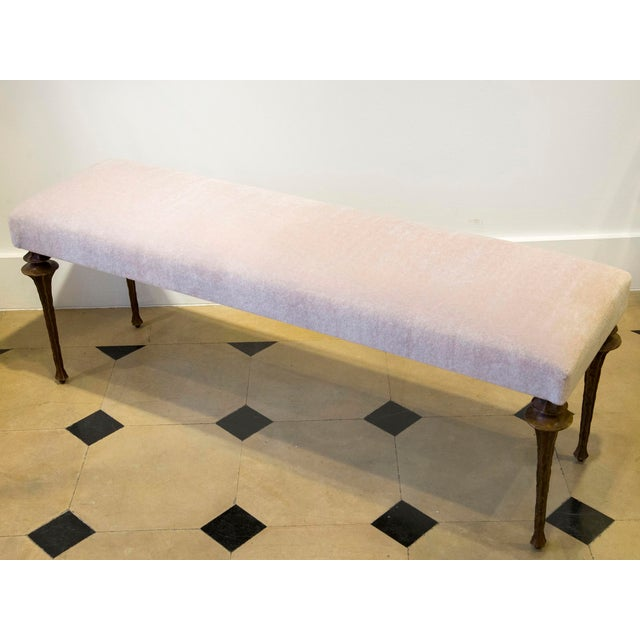Contemporary Marc Bankowsky - Large Bench in Bronze and Velvet Mohair For Sale - Image 3 of 7