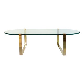 Mid-Century Modern Oval Brass & Floating Glass Coffee Table For Sale