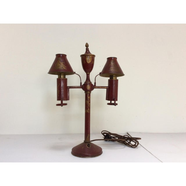Antique French Red Tole Twin Shaded Table Lamp - Image 3 of 9