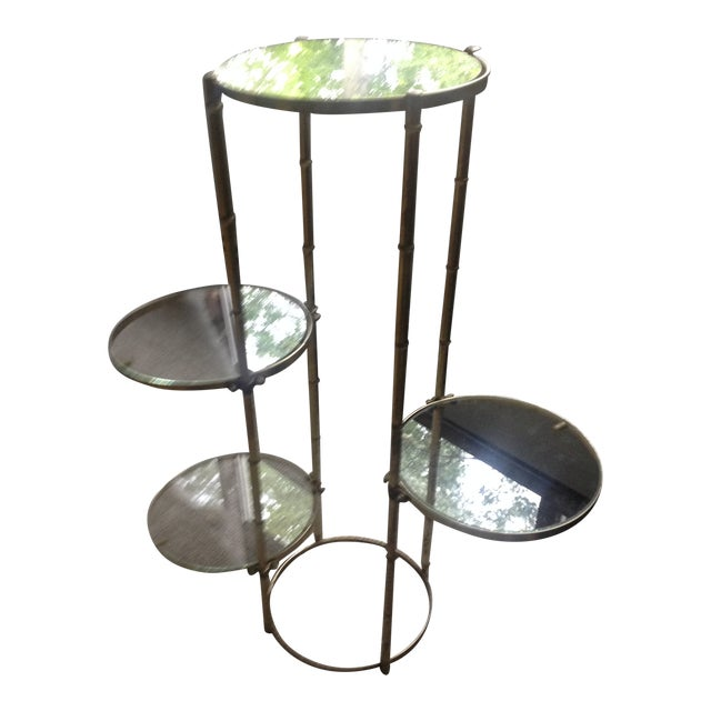 Mid Century Faux Brass Bamboo Shelf Plant Stand For Sale