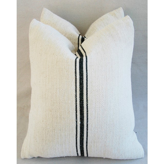 French Grain Sack Down & Feather Pillows - A Pair - Image 2 of 10