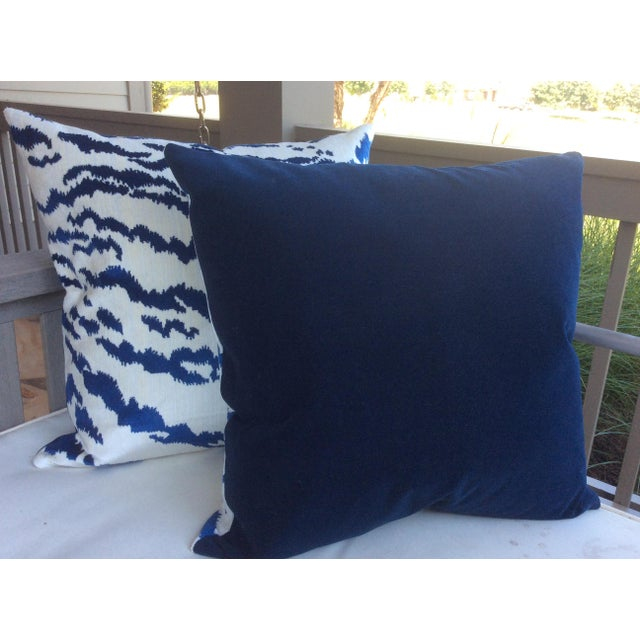 Contemporary Contemporary Blue & Ivory Velvet Tiger Pillows - a Pair For Sale - Image 3 of 3