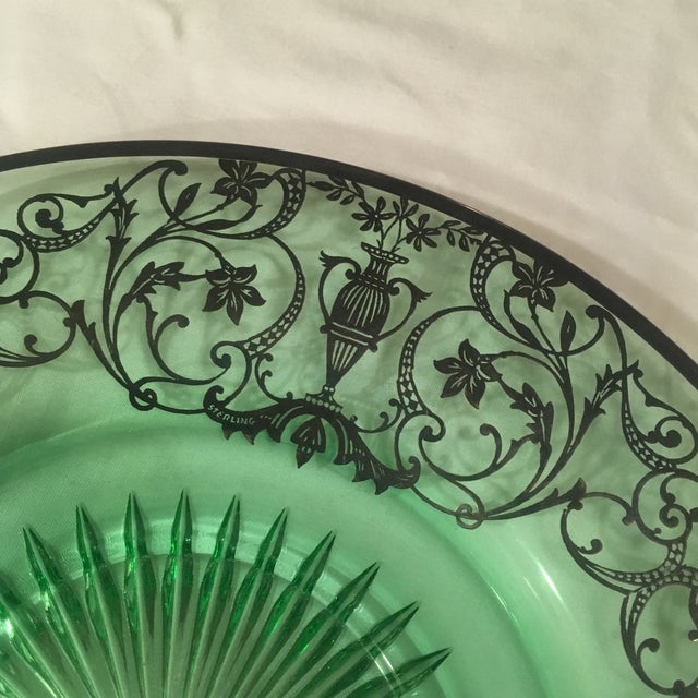 Traditional Green Pressed Glass Plate with Sterling Silver Overlay For Sale - Image 3 of 7