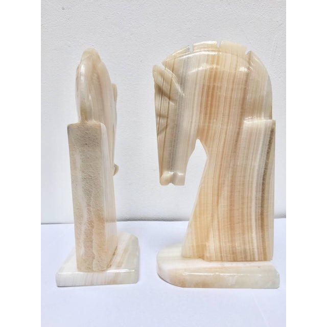 Pair of Art Deco Onyx Horses Heads Bookends For Sale In Los Angeles - Image 6 of 10