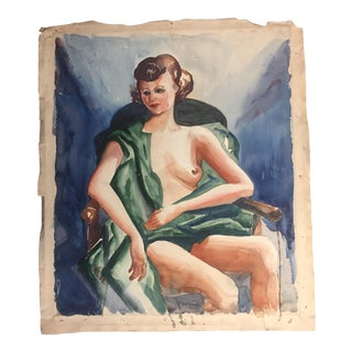 1930's Deco Original Female Nude Watercolor Painting