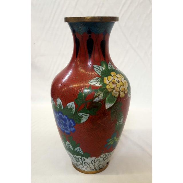 Asian Vintage Chinese Floral Champleve Vase Enamel-Over-Brass For Sale - Image 3 of 7