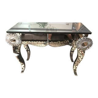 Abstract Design Beveled Mirror Console Table For Sale