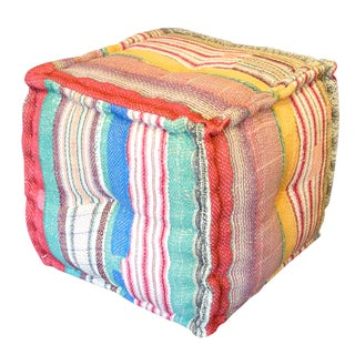 Multicolored Stripe Printed Bengal Kantha Cube For Sale