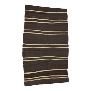 "Vintage Striped Kilim Rug - 5'9"" x 10'1"" For Sale"