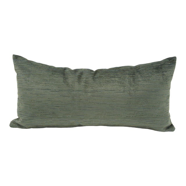 Kenneth Ludwig Chicago Green Striped Textured Bolster Pillow For Sale