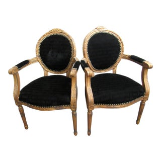 1980s Woodward and Lothrop Black Upholstered French Style Designer Side Chairs - a Pair For Sale