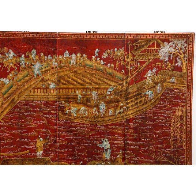 Chinoiserie Red Lacquered Panels - Set of 6 For Sale - Image 9 of 12