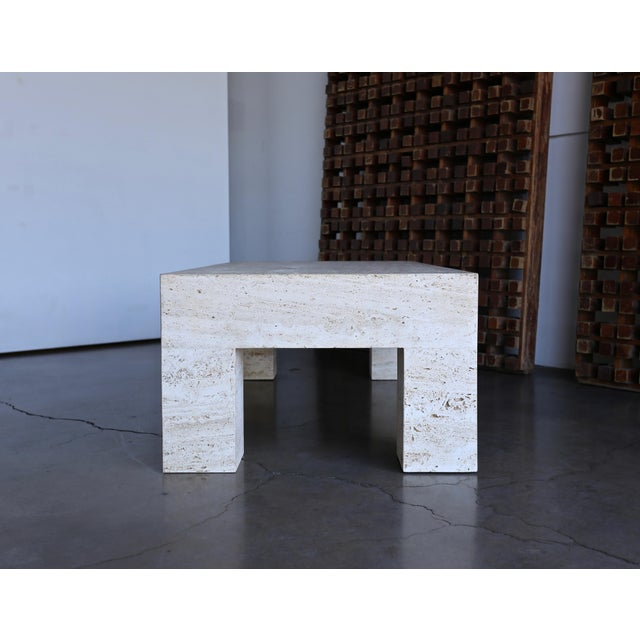 Late 20th Century Travertine Coffee Table 1980 For Sale - Image 5 of 11