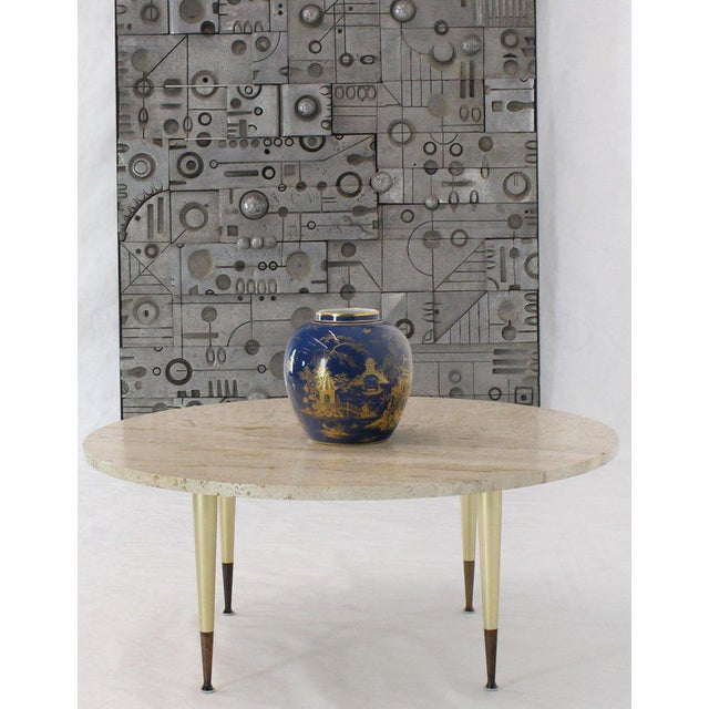 Midcentury Italian Modern Gio Ponti looking travertine top coffee table on Fine metal base.