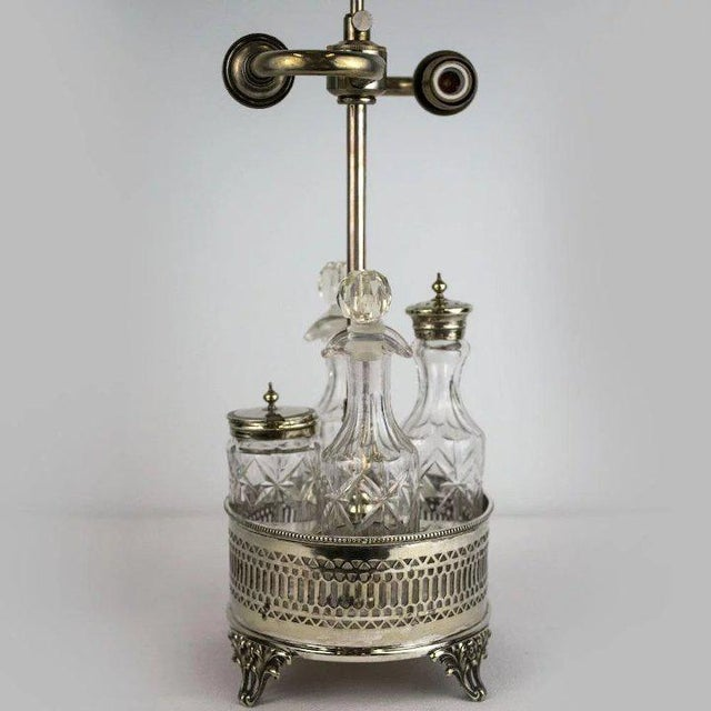 Early 20th Century Sheffield Silver Plate and Cut Crystal Cruet Table Lamp For Sale - Image 5 of 9