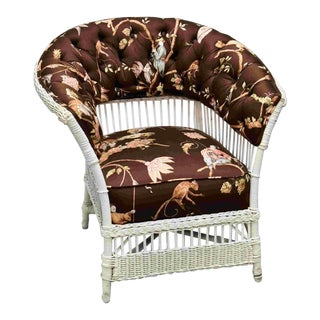 Silk Upholstered Cushioned Wicker Chair For Sale