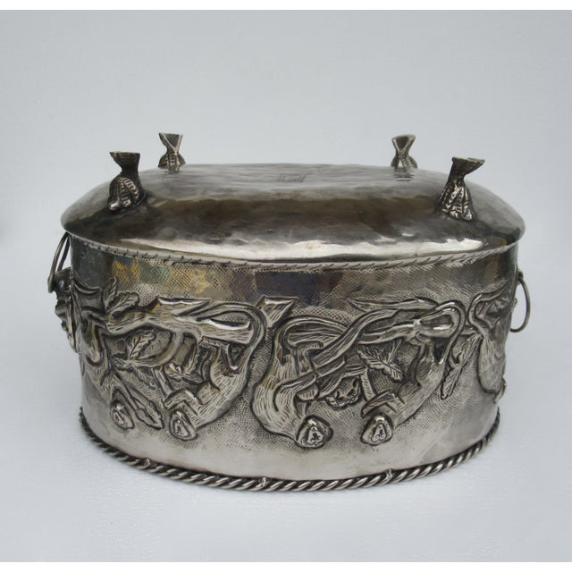 Castilian Hammered Silver Monkey Embossed Centerpiece Jardiniere, Planter For Sale - Image 10 of 13