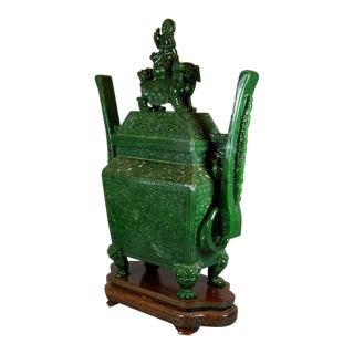 Hand-Carved Massive Chinese Spinach Jade Green Incense Burner