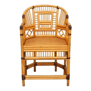 Vintage Palm Beach Regency Rattan Armchair For Sale
