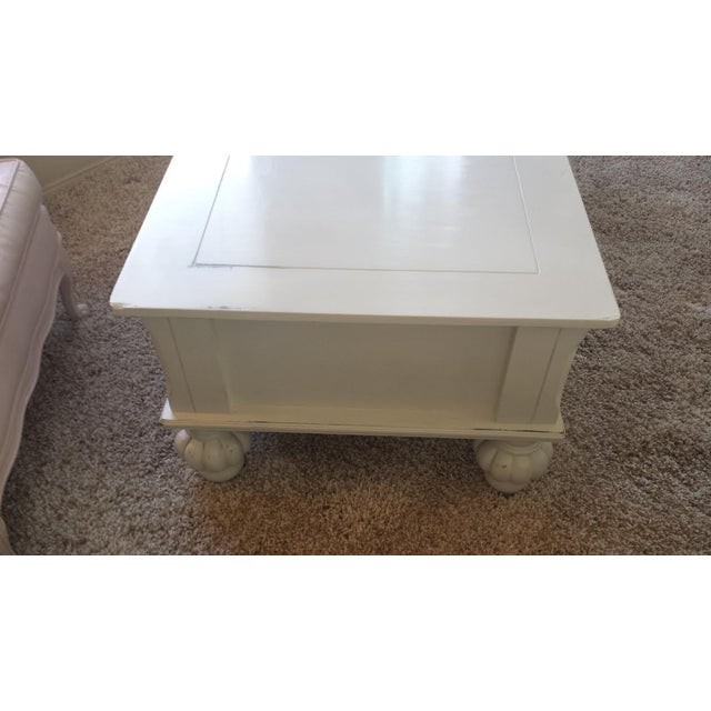 Gray Shabby Chic Coffee Table with Drawers - Image 4 of 7