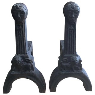 Early 20th Century Figural Cast Iron Andirons - a Pair For Sale
