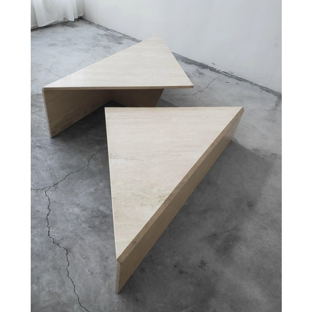 1970s 2 Piece Tiered Post-Modern Italian Travertine Coffee Table For Sale - Image 5 of 8