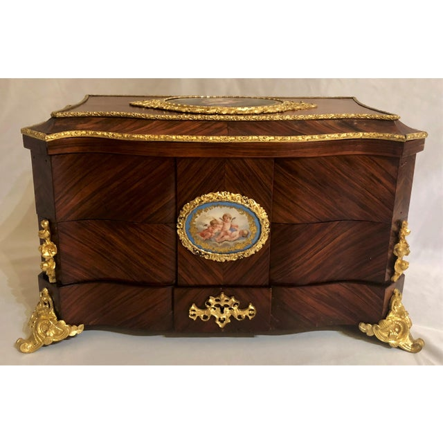 Museum Quality Antique French Napoleon III Sevres Mounted Kingswood and Ormolu Traveling Box made by Ebeniste, Alphonse...