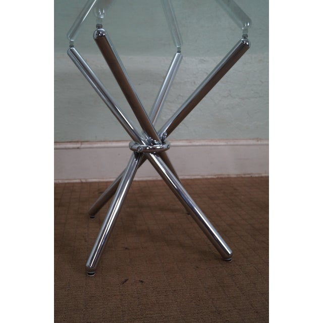Mid-Century Modern Chrome Leg Glass Top Table For Sale - Image 4 of 10