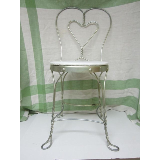 Vintage Metal Ice Cream Parlor Chair with Heart - Image 4 of 10