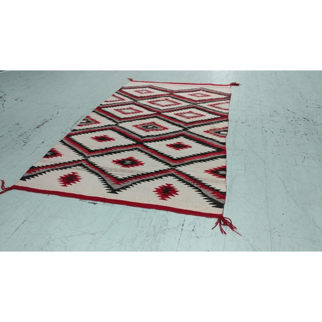 "Navajo vintage Hand Woven Wool Rug w/Red Geometrical Patterns Size 54 x 90"" A beautiful piece that will add to your décor!"