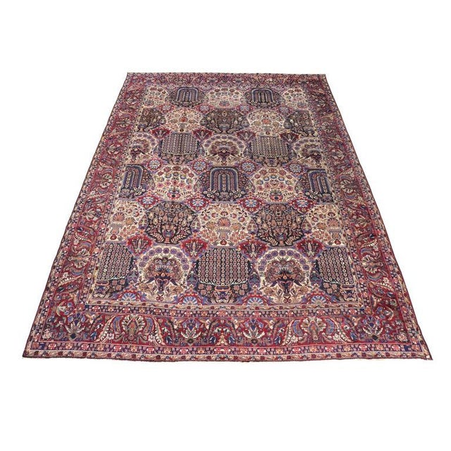 Oversize Antique Persian Yazd with Garden Design in Jewel-Tone Colors For Sale - Image 5 of 10