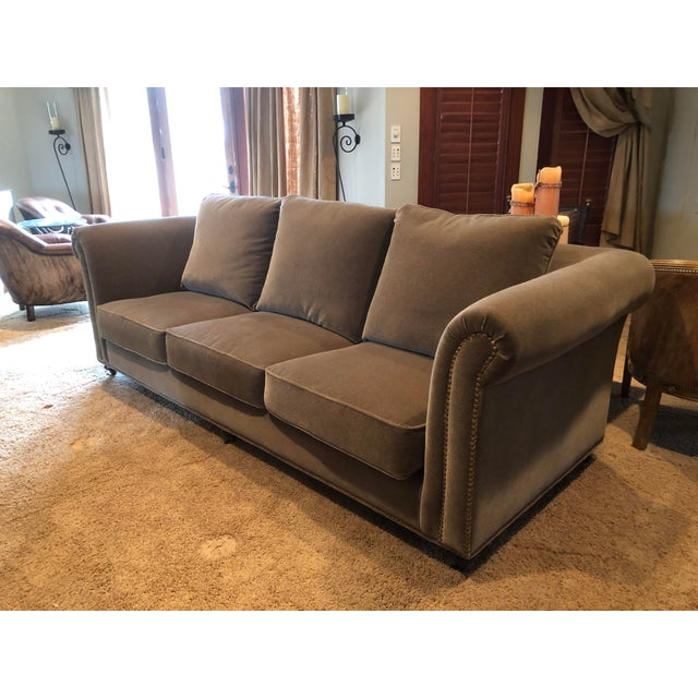 3 Seat Custom Natural Mohair Sofa For Sale - Image 11 of 11