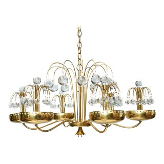 1950s Paavo Tynell Brass and Glass Chandelier For Sale