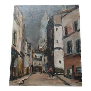 Late 20th Century Angelo Gleria Moody Cityscape Oil / Acrylic Painting For Sale