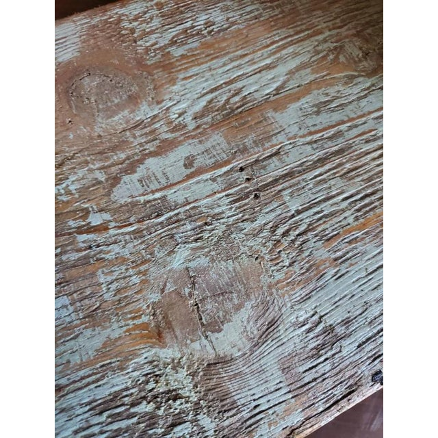 Coffee Antique Rustic American Country Farmhouse Wooden Bench For Sale - Image 8 of 11