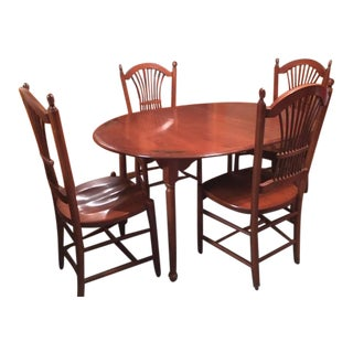 Hitchcock Kitchen Table & 4 Sheafback Chairs For Sale