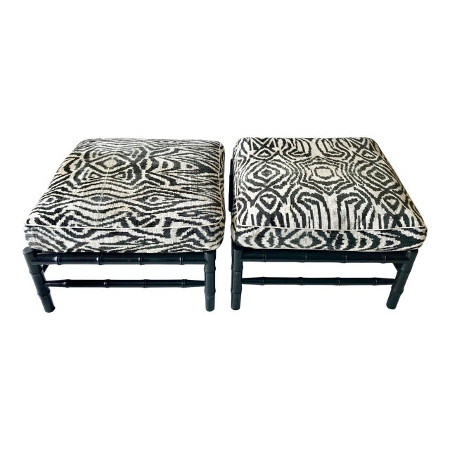 Black Bamboo Stools With Zebra Print Poufs - a Pair For Sale