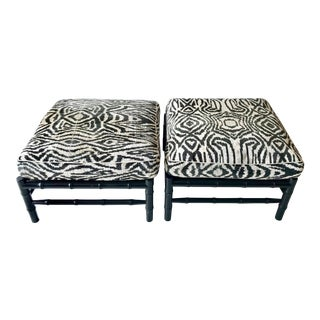 Black Faux Bamboo Stools in Ikat Zebra Print - a Pair For Sale