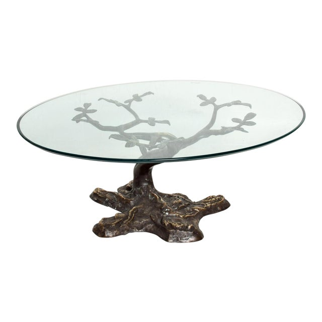 Willy Daro Mid-Century Contemporary Bronze Bonsai Tree Coffee Table For Sale