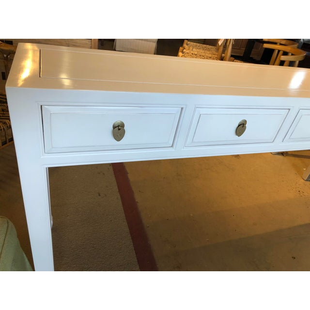 Asian Asian Modern White Lacquer 5-Drawer Console Table For Sale - Image 3 of 9