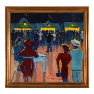 """Mid-Century """"Bakken Fairground"""" Oil Painting by Jens Sørensen, Framed For Sale"""