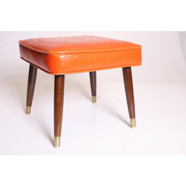 Mid Century Modern Orange Vinyl Foot Stool - Image 2 of 11