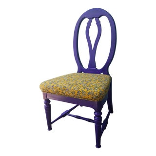 Vintage Floral Upholstered Purple Side Chair For Sale